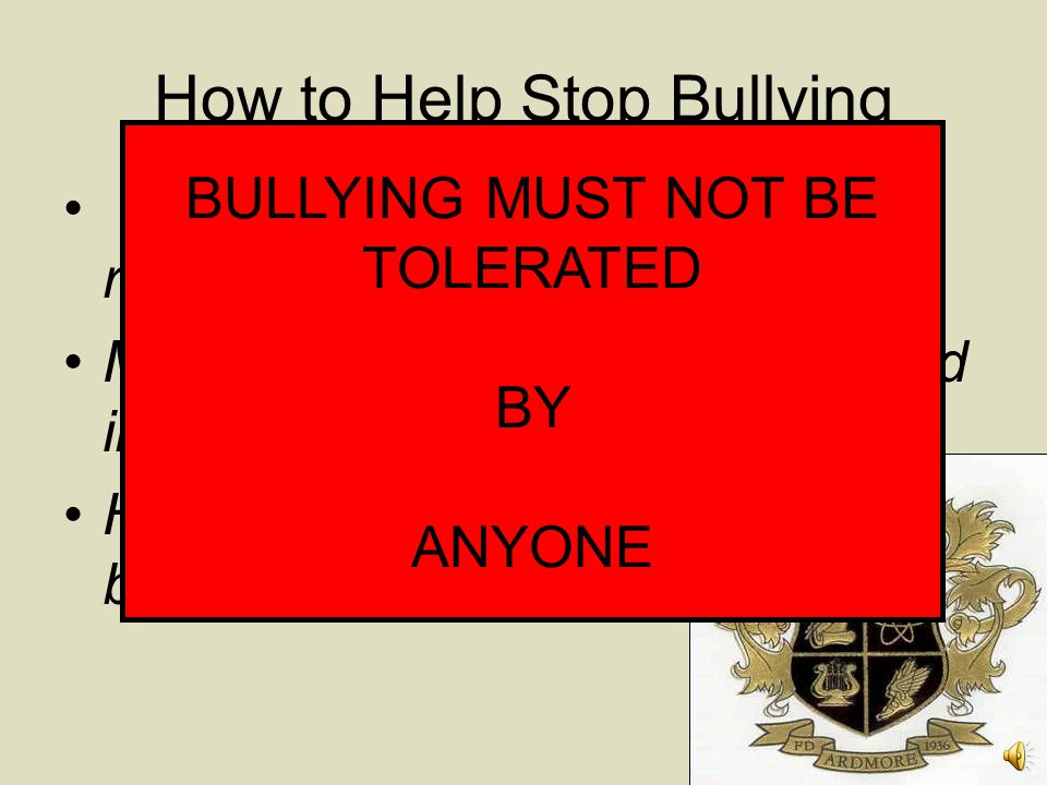 How to Help Stop Bullying