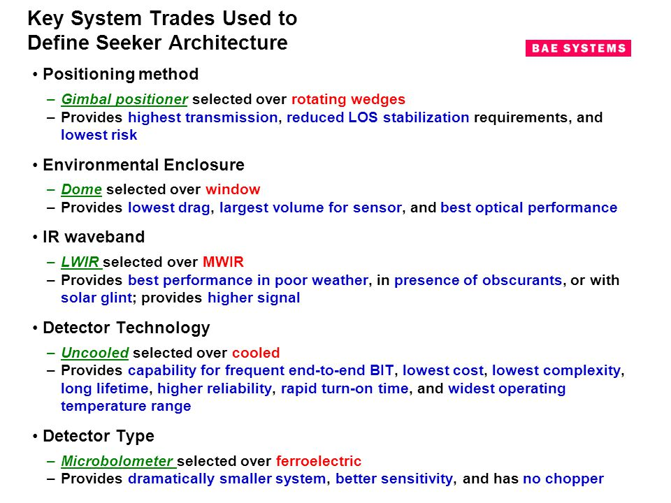 Key System Trades Used to Define Seeker Architecture