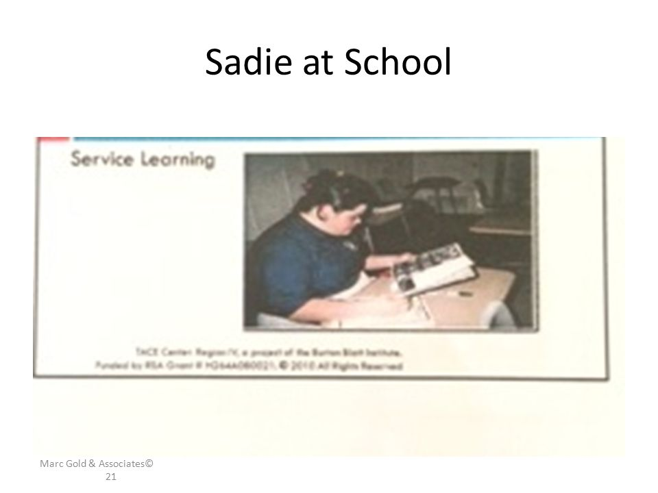 Sadie at School Marc Gold & Associates© 21