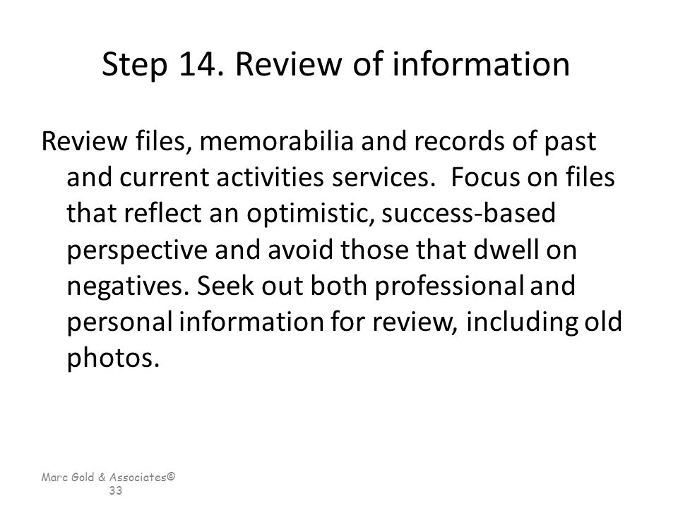 Step 14. Review of information
