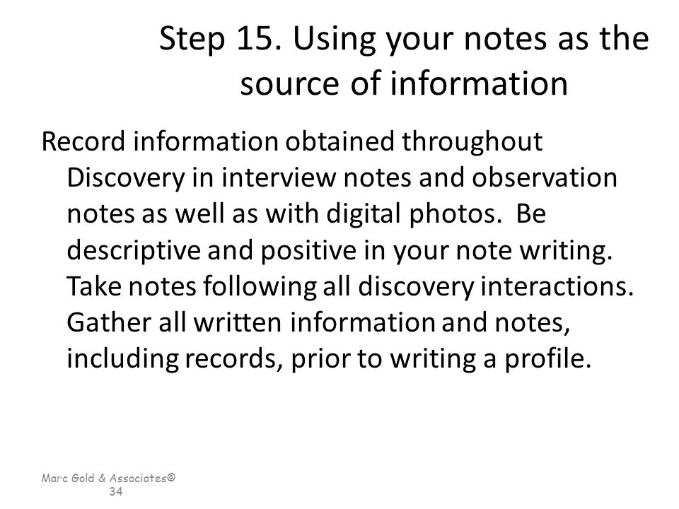 Step 15. Using your notes as the source of information