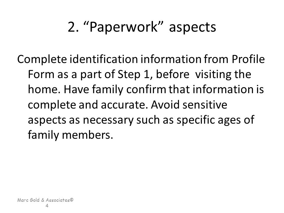2. Paperwork aspects