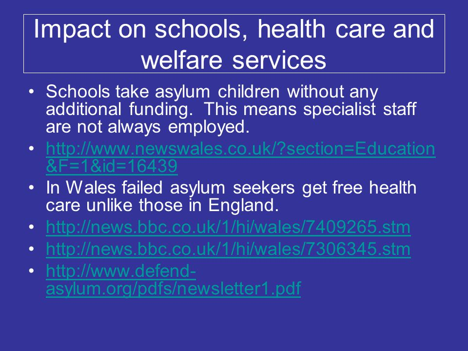 Impact on schools, health care and welfare services