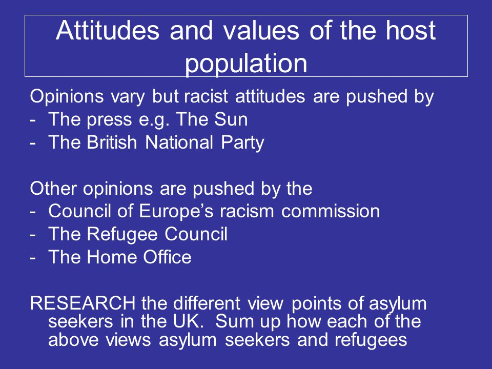 Attitudes and values of the host population