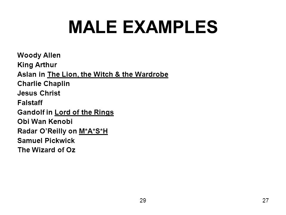 MALE EXAMPLES Woody Allen King Arthur