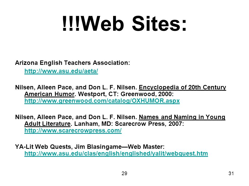 !!!Web Sites: Arizona English Teachers Association: