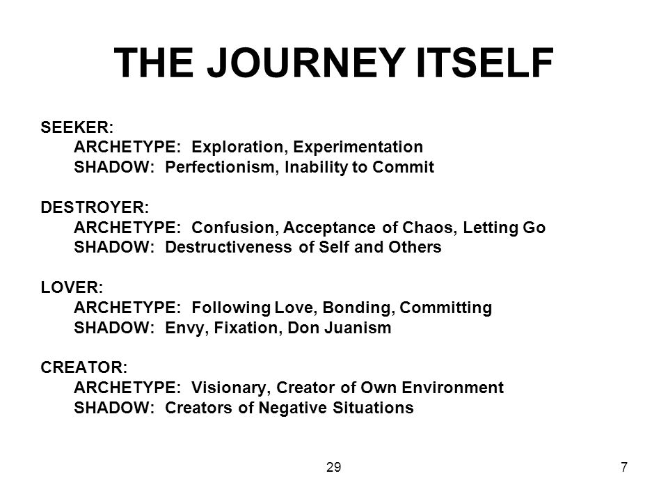 THE JOURNEY ITSELF SEEKER: ARCHETYPE: Exploration, Experimentation