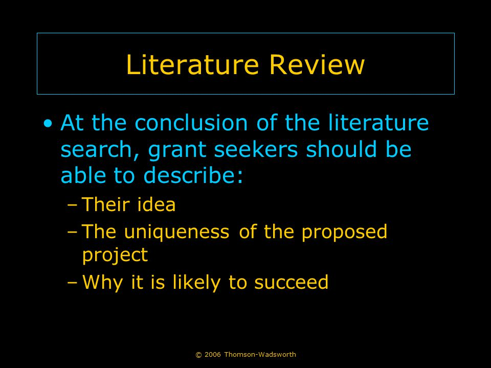 Literature Review At the conclusion of the literature search, grant seekers should be able to describe: