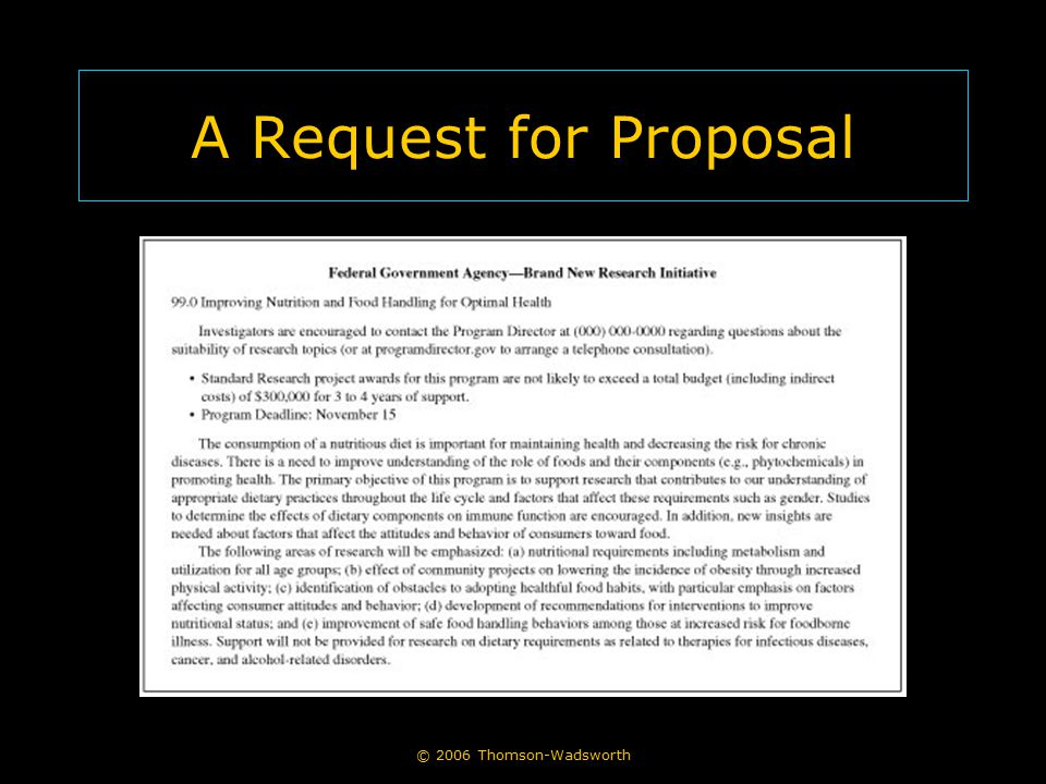A Request for Proposal © 2006 Thomson-Wadsworth