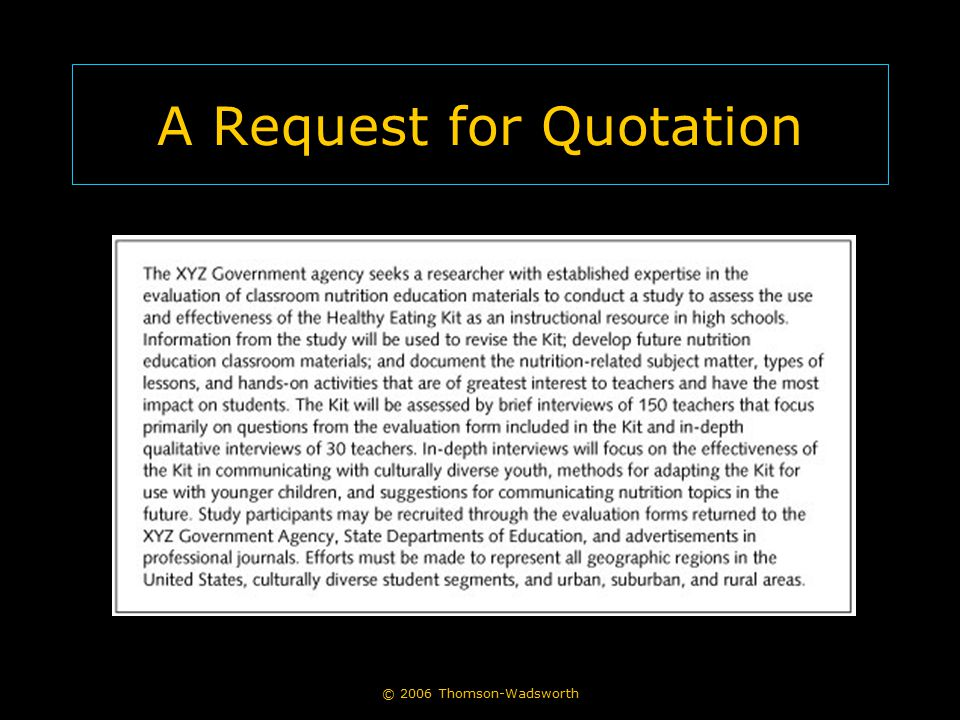 A Request for Quotation