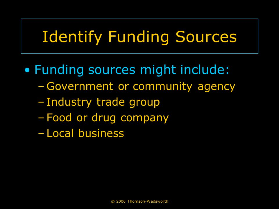 Identify Funding Sources