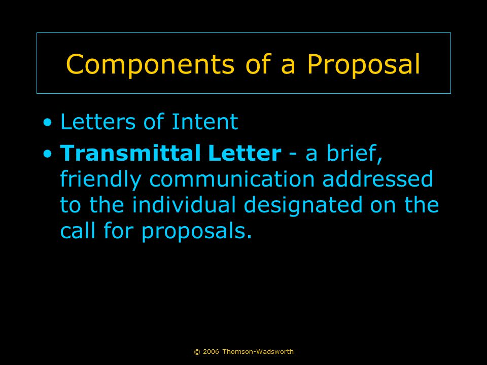 Components of a Proposal