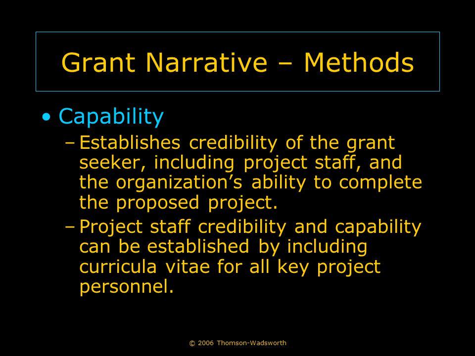 Grant Narrative – Methods