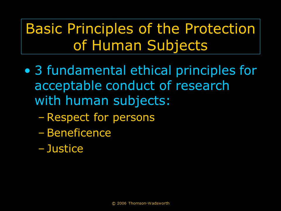 Basic Principles of the Protection of Human Subjects