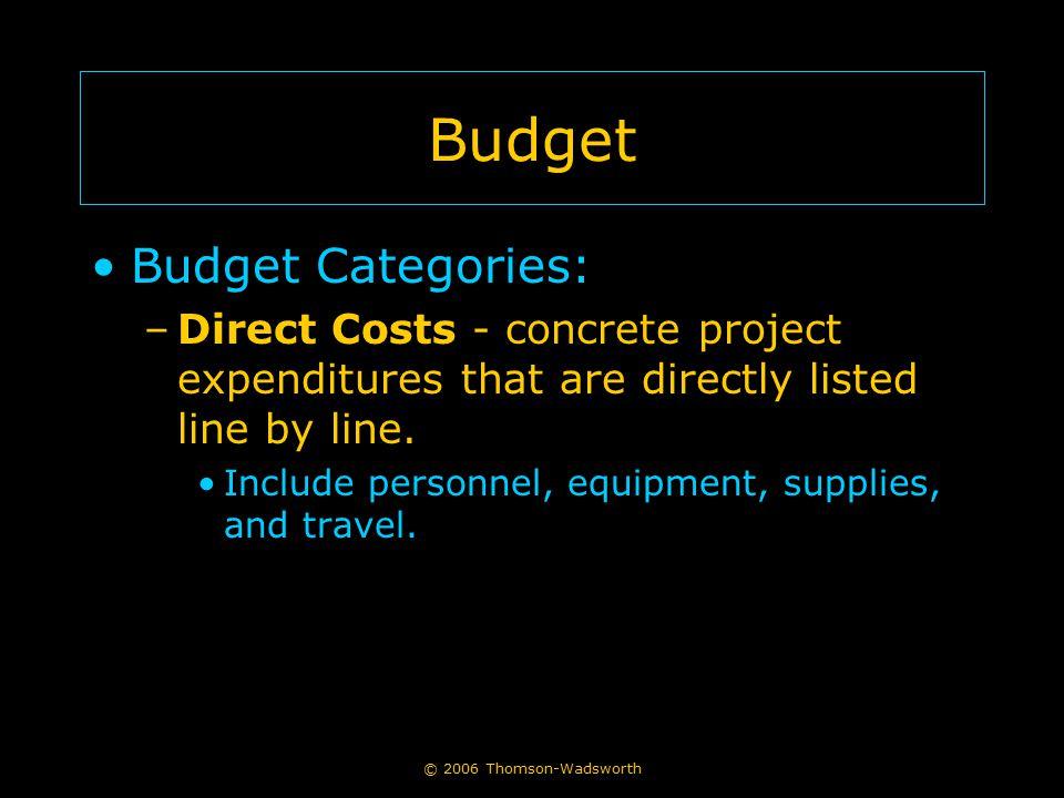 Budget Budget Categories:
