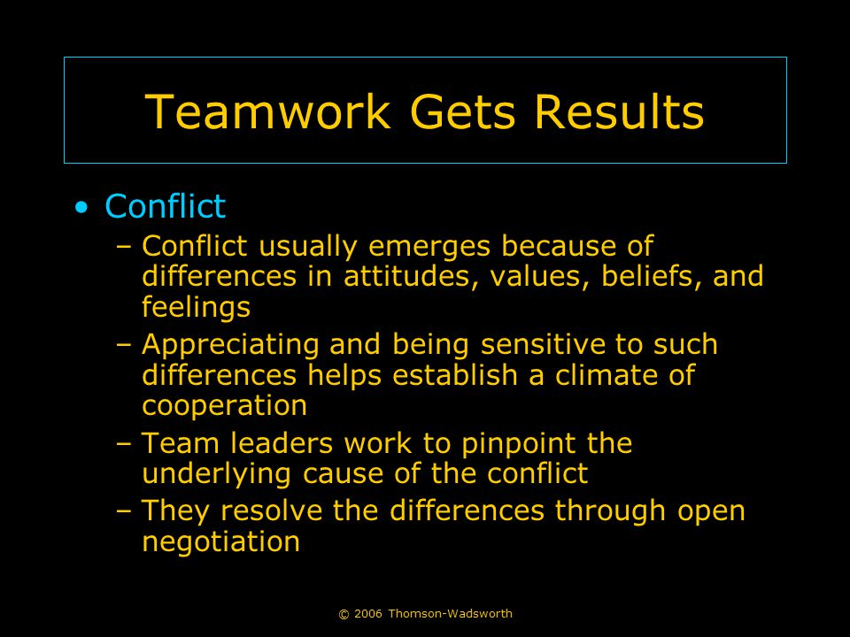Teamwork Gets Results Conflict
