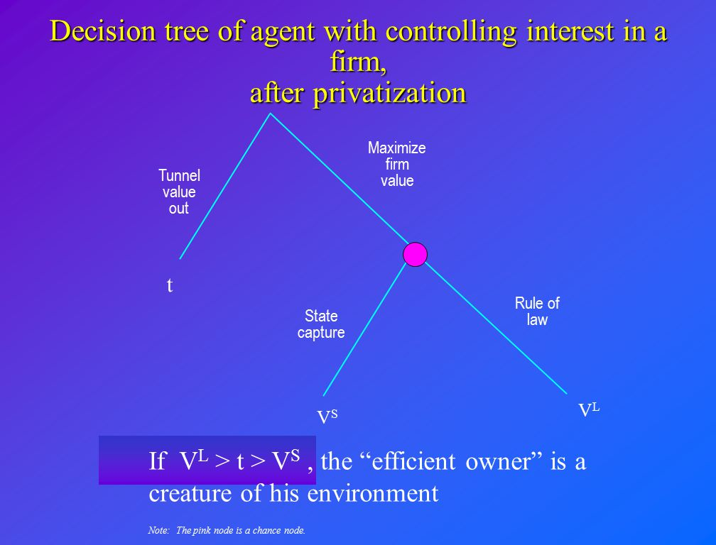 Decision tree of agent with controlling interest in a firm, after privatization