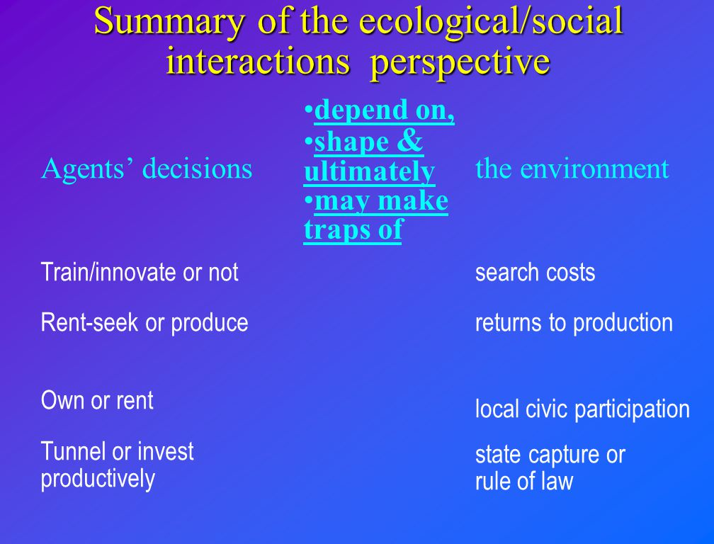 Summary of the ecological/social interactions perspective