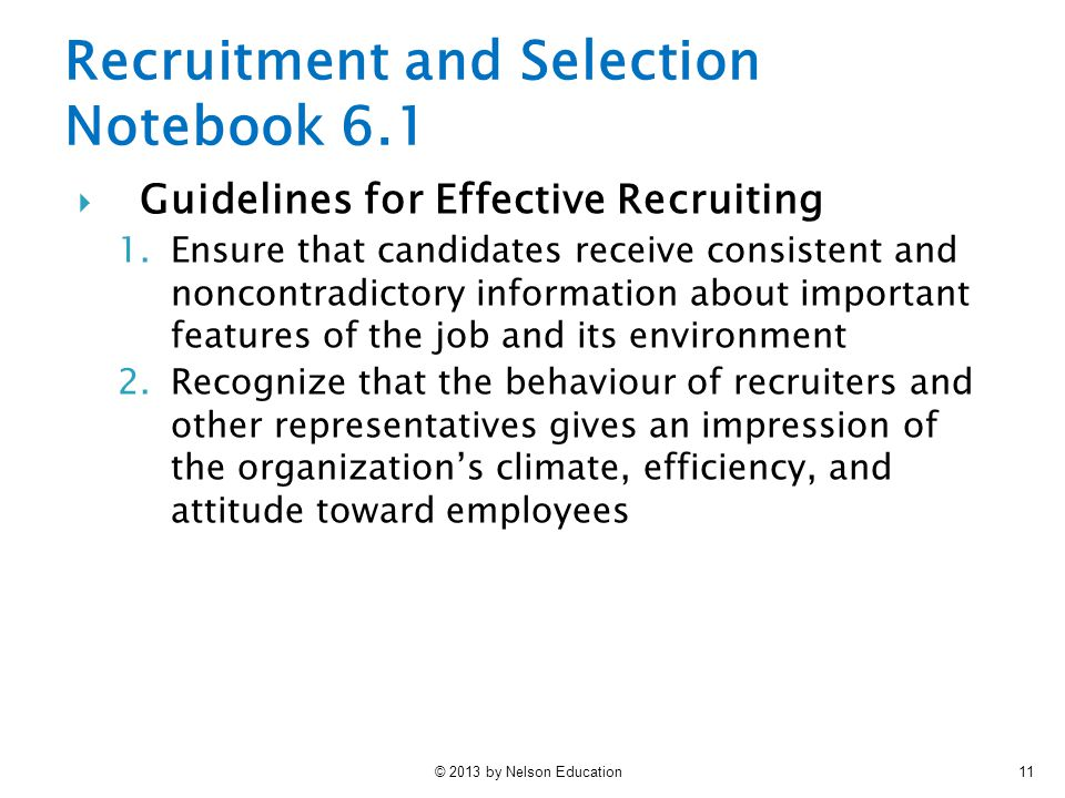 Recruitment and Selection Notebook 6.1