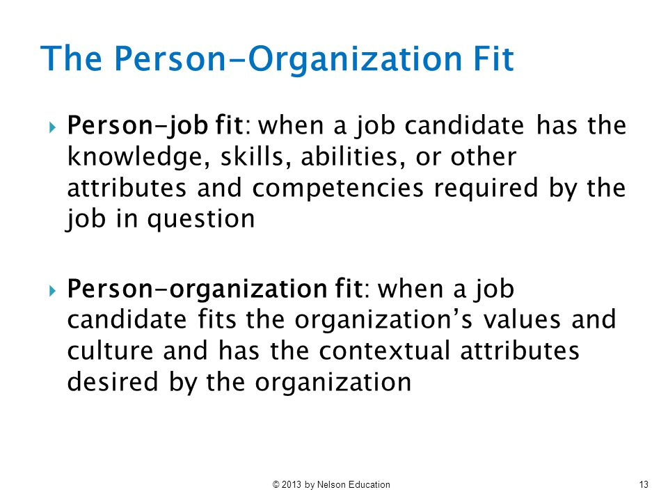 The Person-Organization Fit