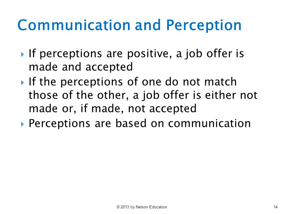 Communication and Perception
