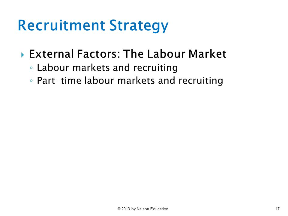 Recruitment Strategy External Factors: The Labour Market