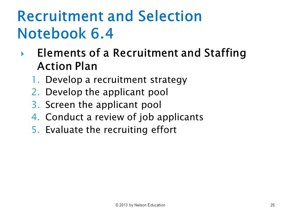 Recruitment and Selection Notebook 6.4