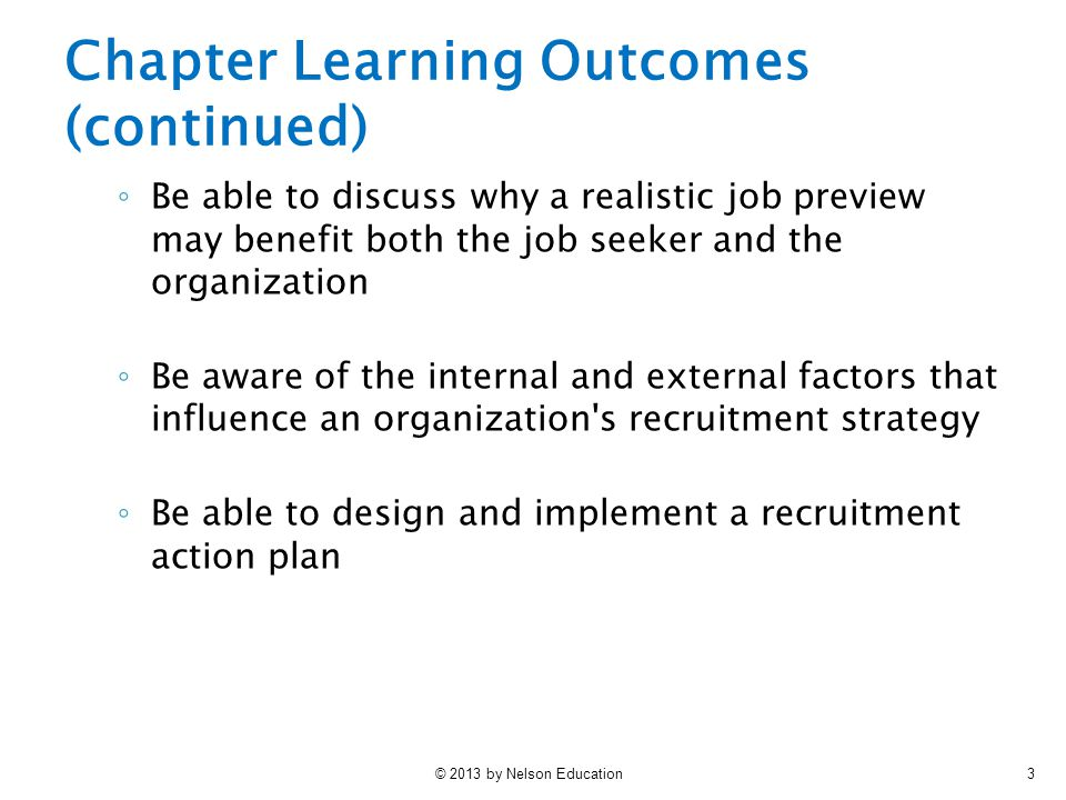 Chapter Learning Outcomes (continued)