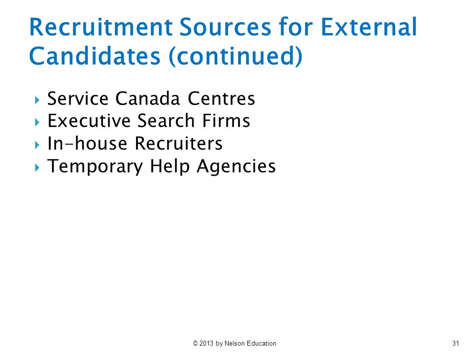 Recruitment Sources for External Candidates (continued)