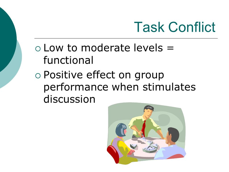 Task Conflict Low to moderate levels = functional