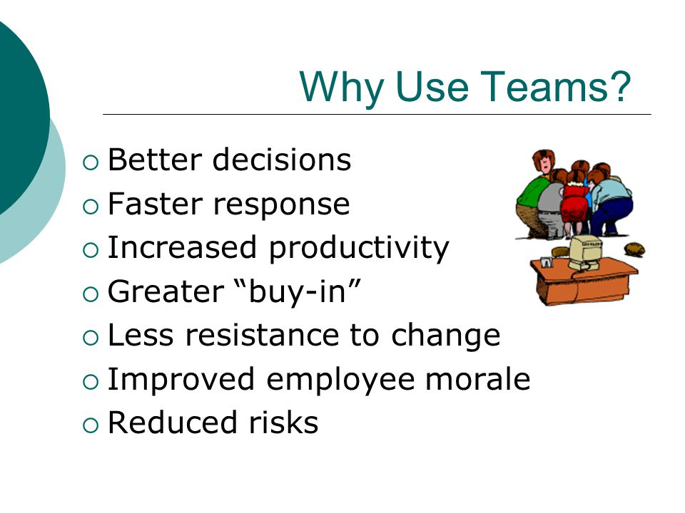 Why Use Teams Better decisions Faster response Increased productivity