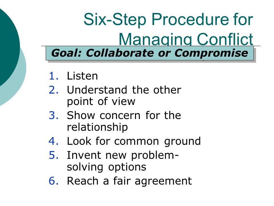 Six-Step Procedure for Managing Conflict