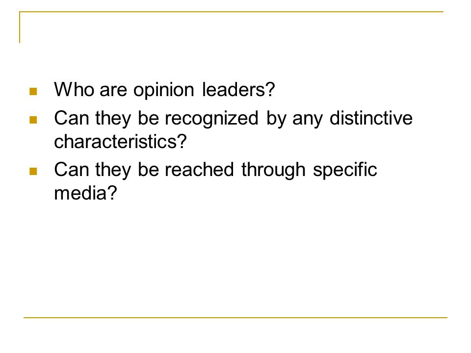 Who are opinion leaders