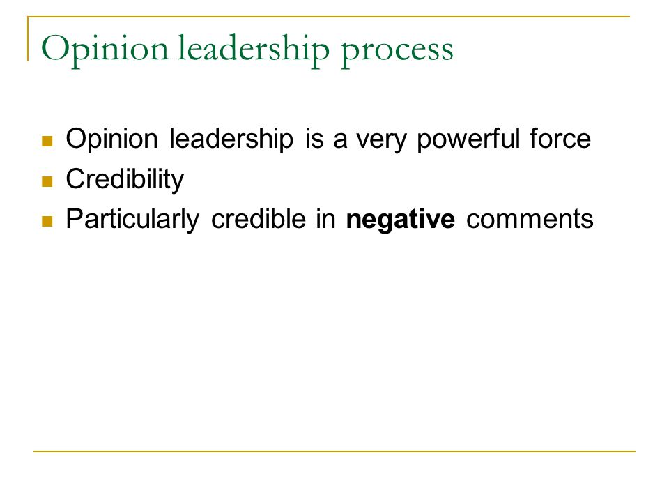 Opinion leadership process