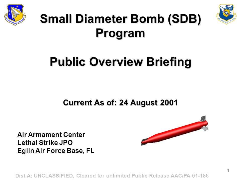 Small Diameter Bomb (SDB) Program Public Overview Briefing Current As of: 24 August 2001
