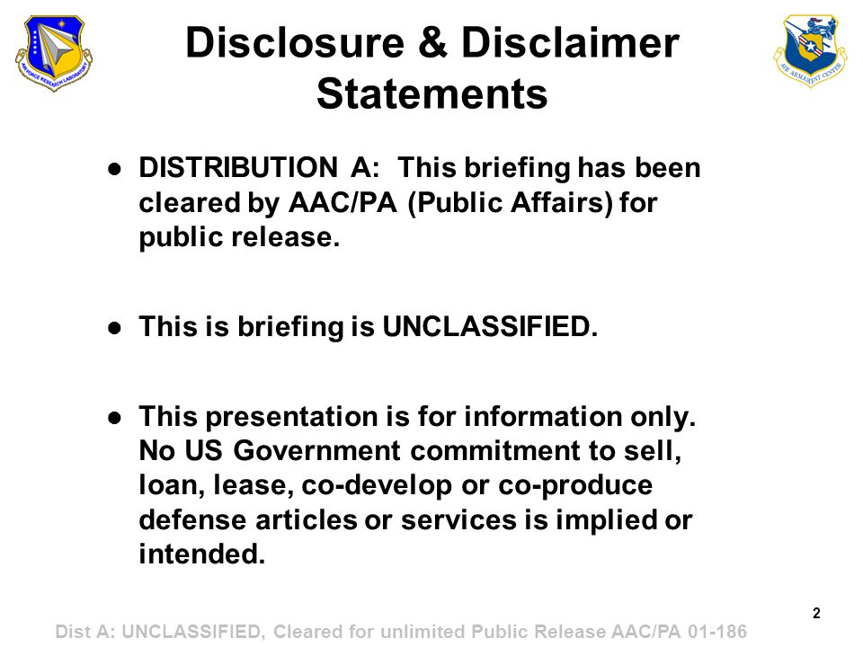Disclosure & Disclaimer Statements