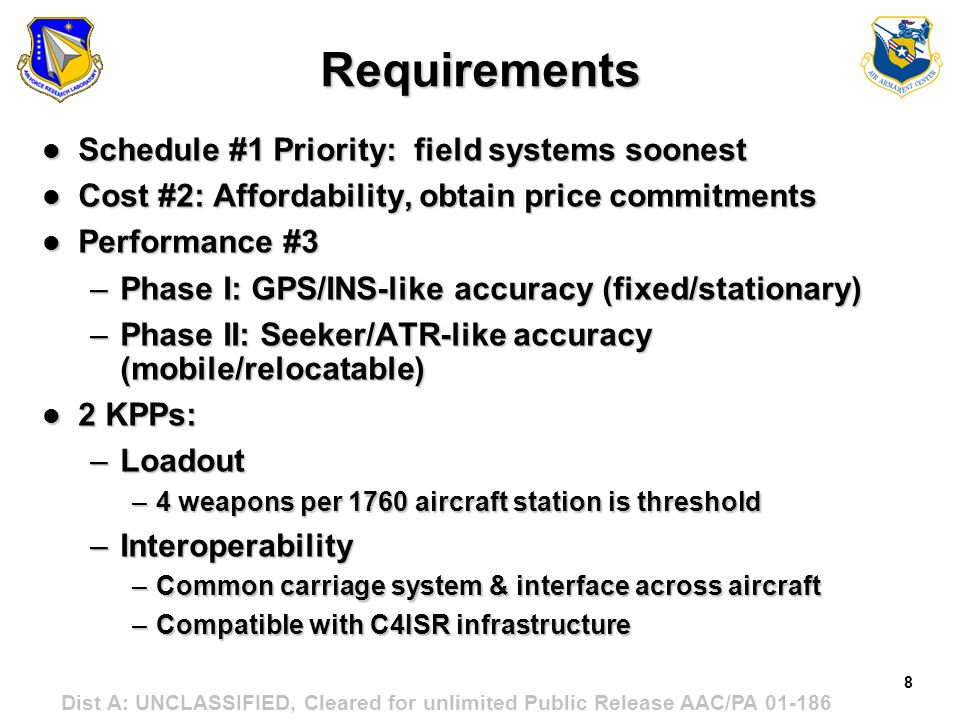 Requirements Schedule #1 Priority: field systems soonest