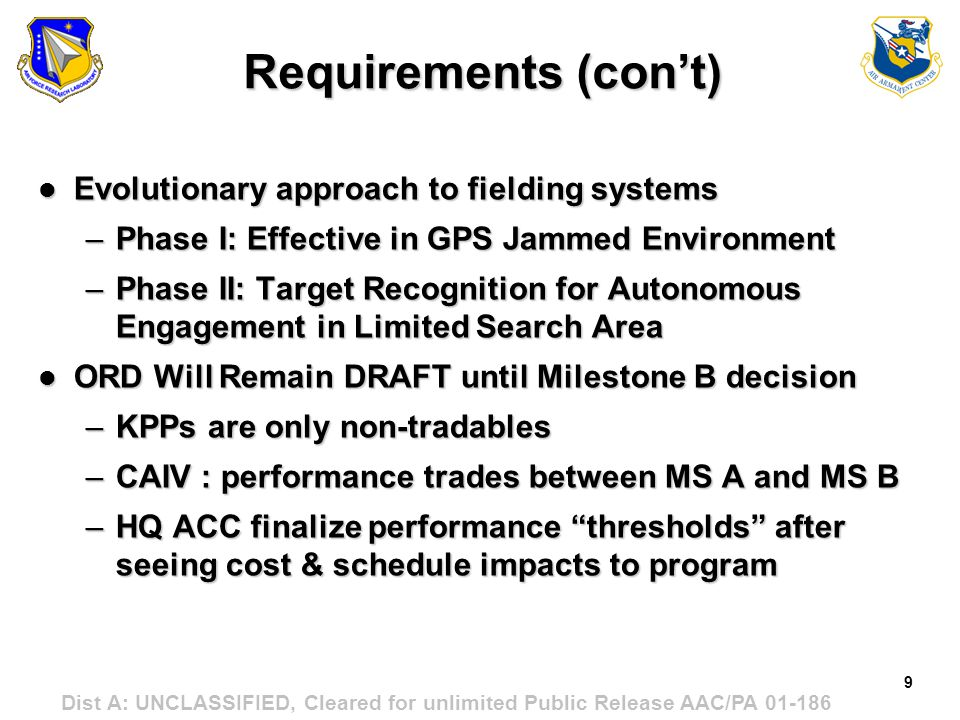 Requirements (con't) Evolutionary approach to fielding systems