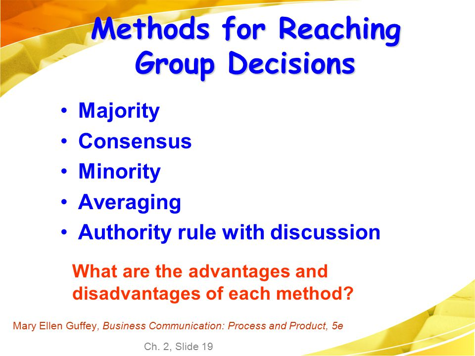 Methods for Reaching Group Decisions