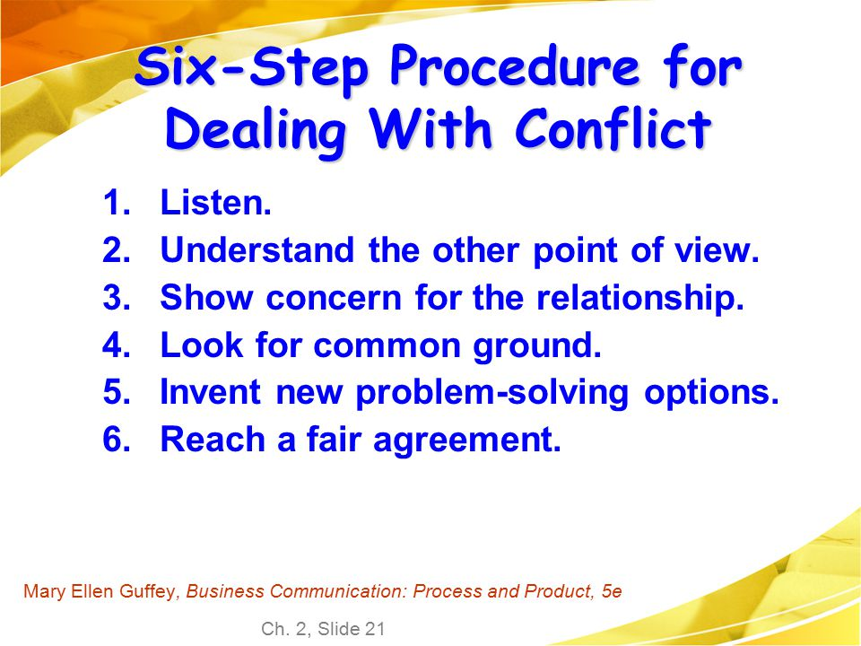 Six-Step Procedure for Dealing With Conflict