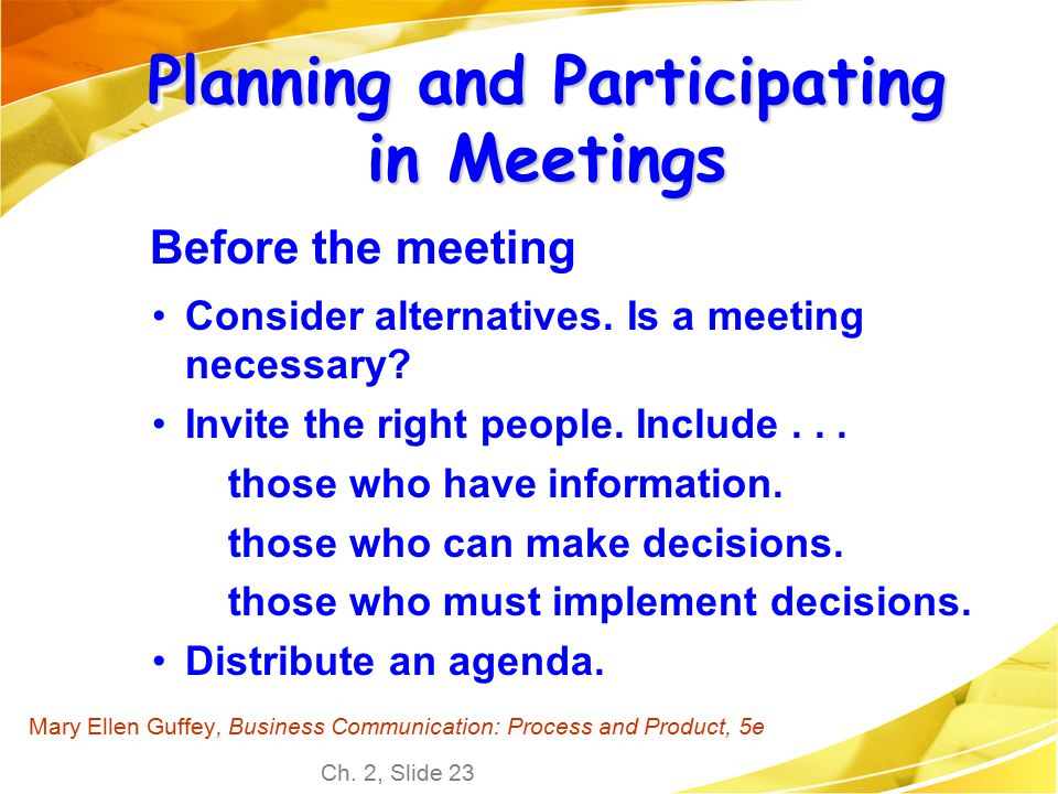 Planning and Participating in Meetings