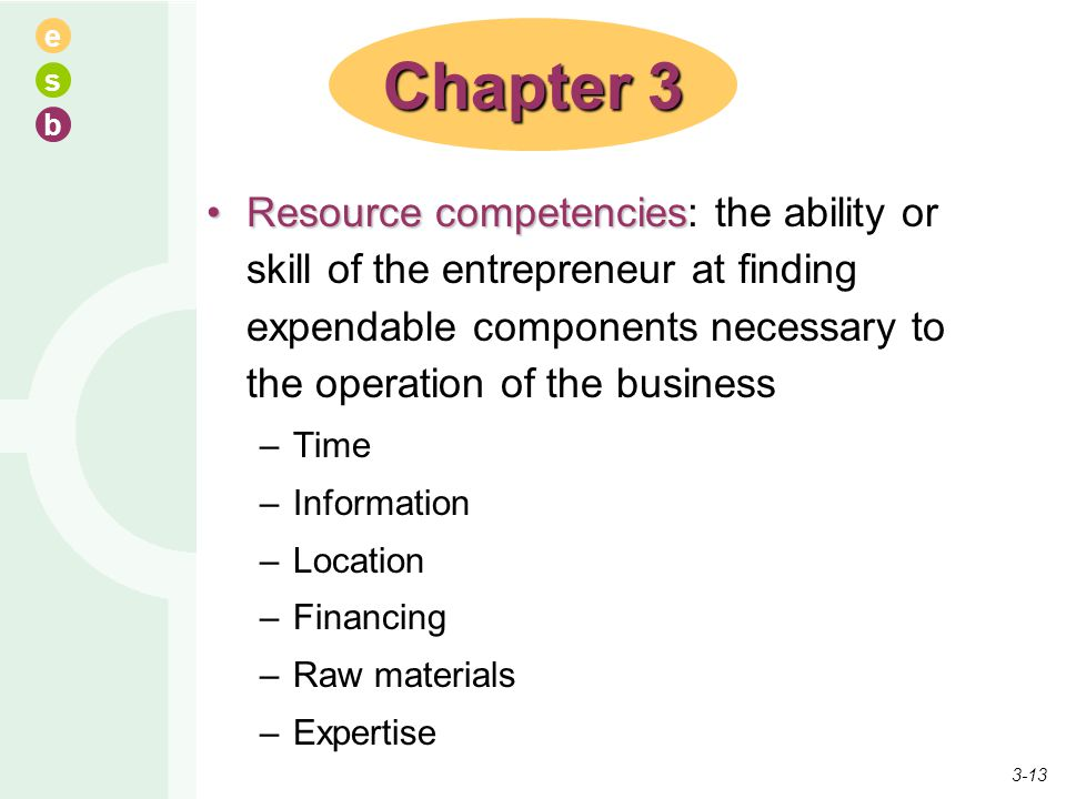 Chapter 3 Resource competencies: the ability or skill of the entrepreneur at finding expendable components necessary to the operation of the business.