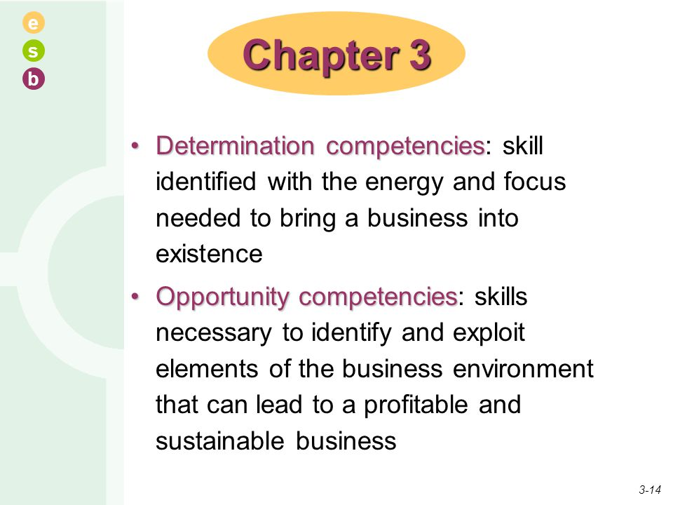 Chapter 3 Determination competencies: skill identified with the energy and focus needed to bring a business into existence.