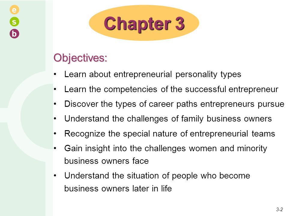Chapter 3 Objectives: Learn about entrepreneurial personality types