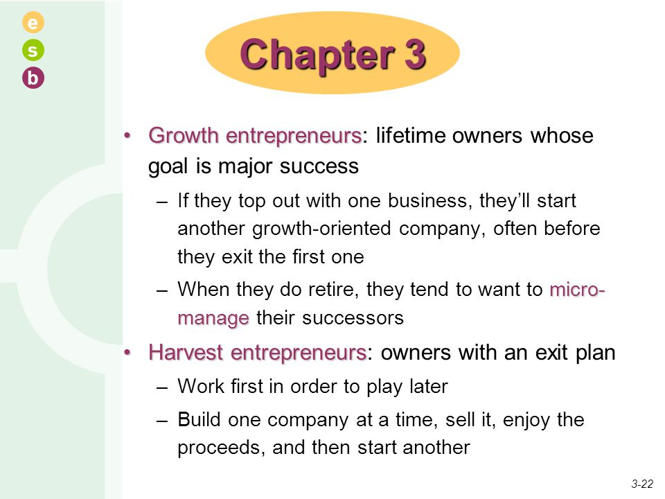 Chapter 3 Growth entrepreneurs: lifetime owners whose goal is major success.