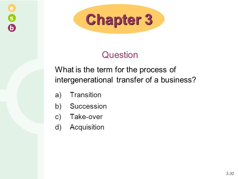 Chapter 3 Question. What is the term for the process of intergenerational transfer of a business a) Transition.
