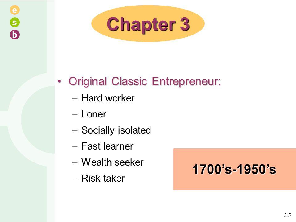 Chapter 3 1700's-1950's Original Classic Entrepreneur: Hard worker