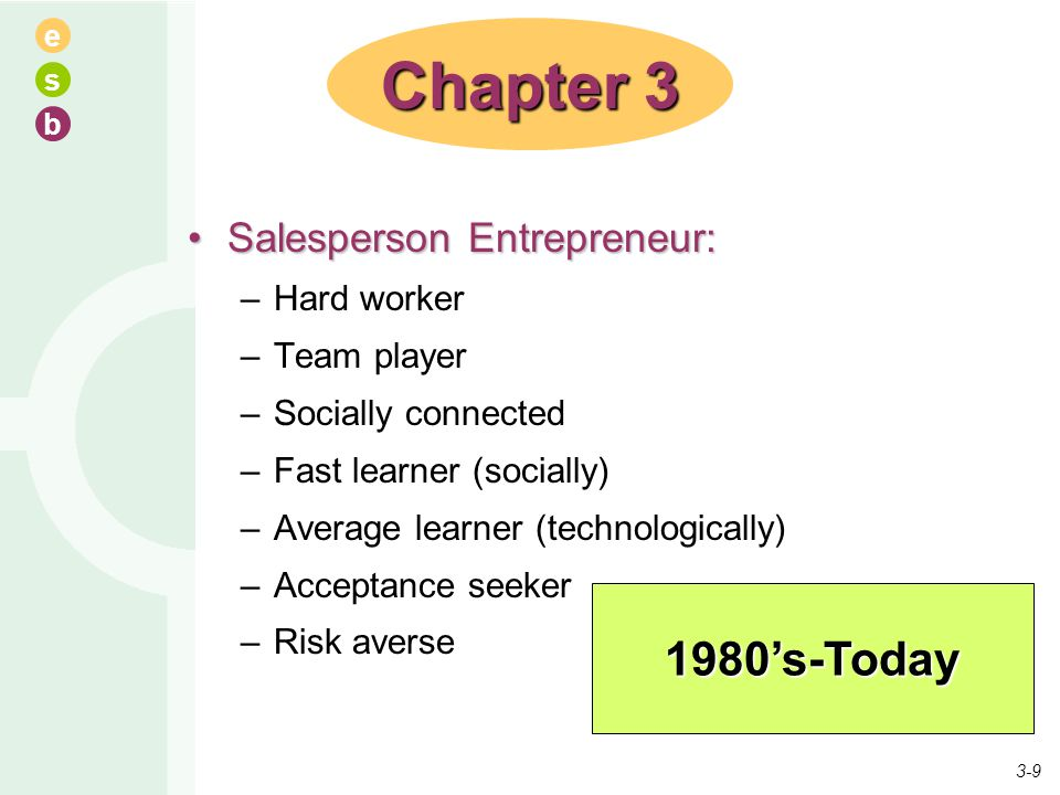 Chapter 3 1980's-Today Salesperson Entrepreneur: Hard worker