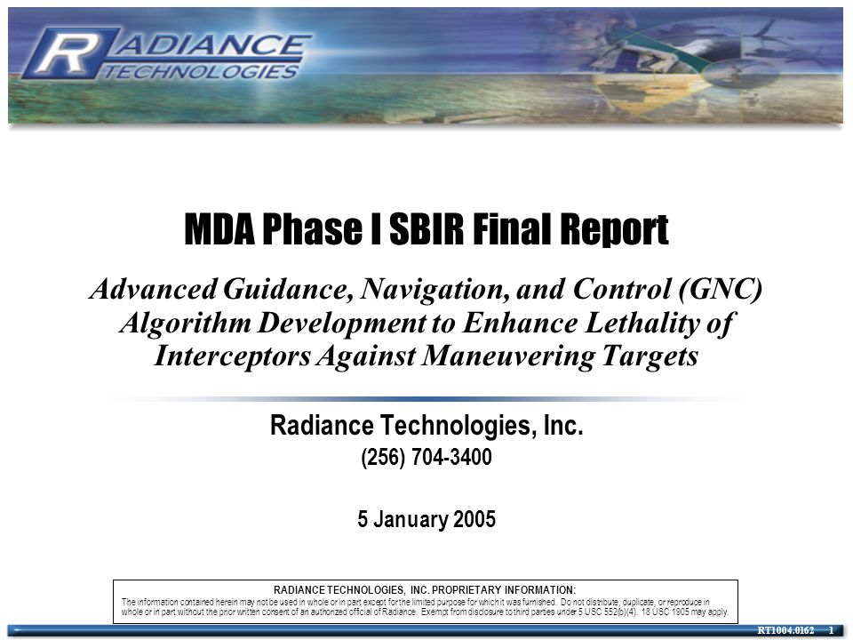 Radiance Technologies, Inc. (256) 704-3400 5 January 2005