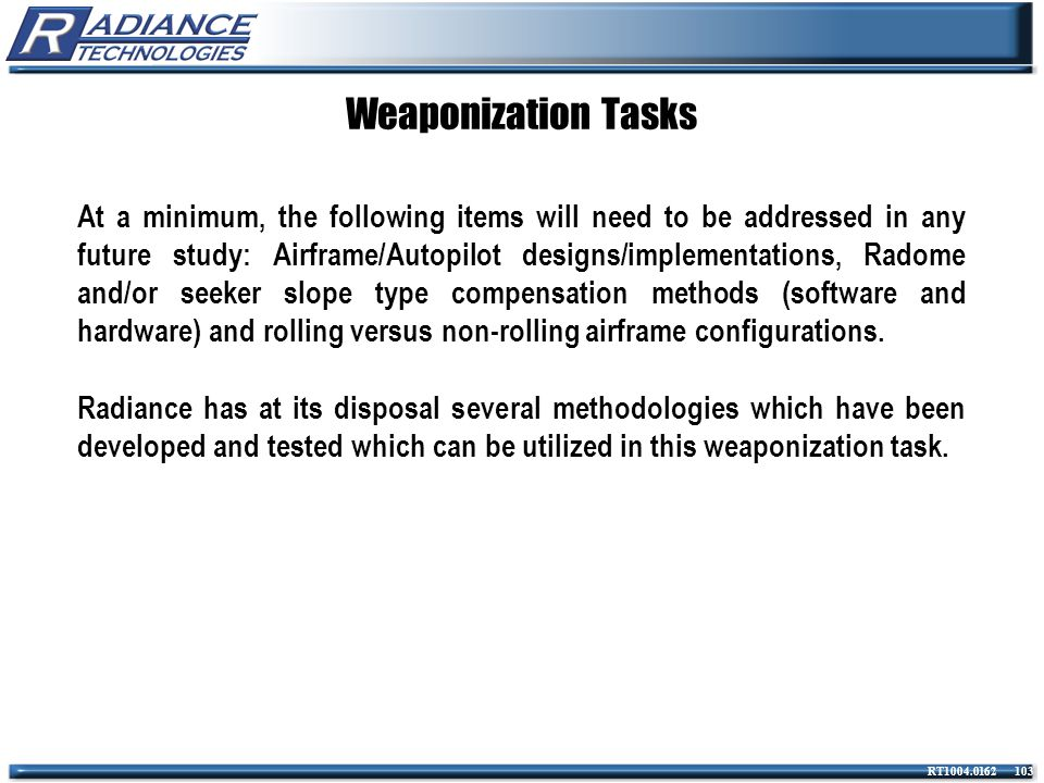 Weaponization Tasks